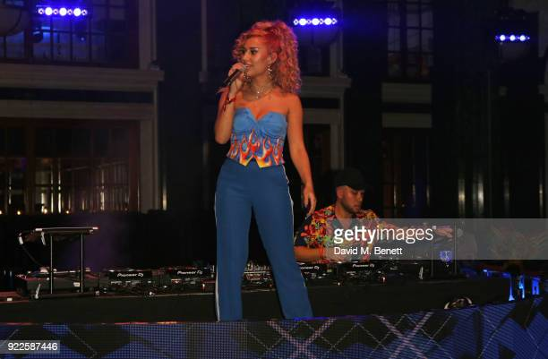 Raye and Jax Jones attend the Universal Music BRIT Awards AfterParty 2018 hosted by Soho House and Bacardi at The Ned on February 21 2018 in London...