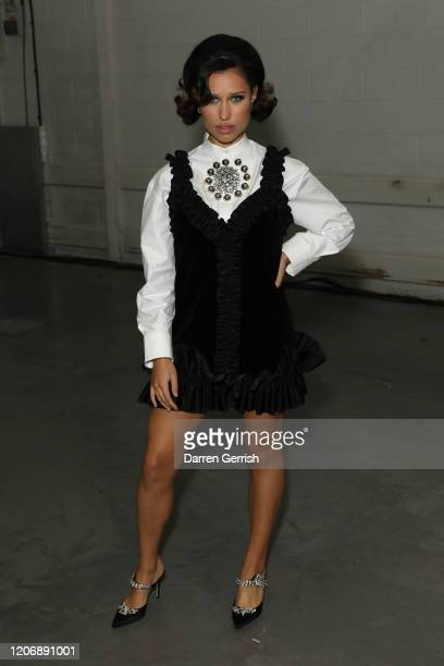 Raye attends the Christopher Kane show during London Fashion Week February 2020 on February 17 2020 in London England