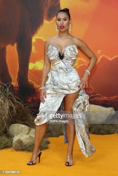 Raye attends the European Premiere of Disney's The Lion King at the Odeon Luxe cinema Leicester Square in London