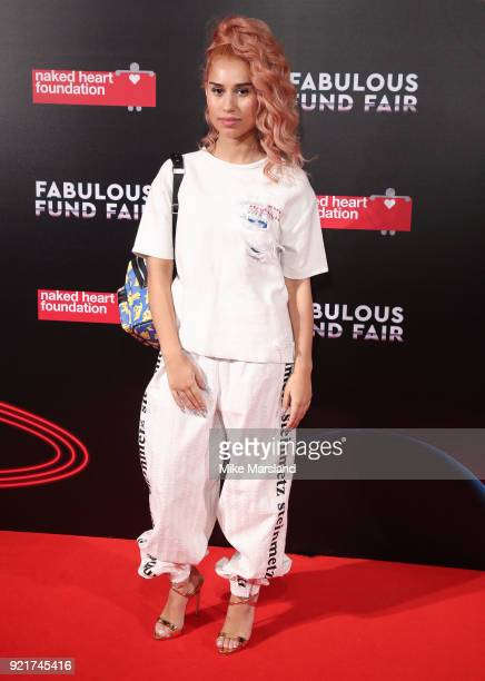 Raye attends the Naked Heart Foundation's Fabulous Fund Fair during London Fashion Week February 2018 at The Roundhouse on February 20 2018 in London...
