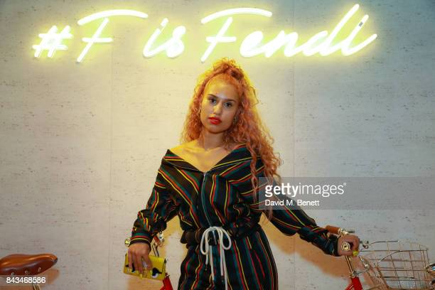 Raye attends the opening of the 'F Is Fendi' popup store at Harrods on September 6 2017 in London England