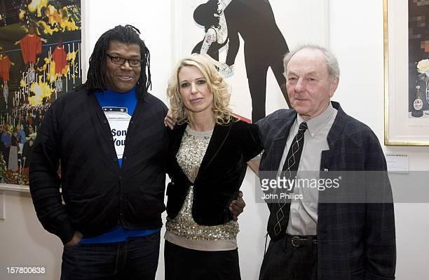 Raye Cosbert Serena Morton And Gerald Laing During Gerald Laing'S Graphics Exhibition At Morton Metropolis London