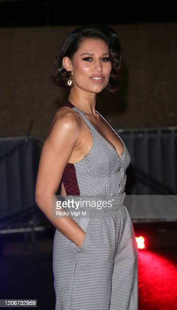 Raye seen attending Tommy Hilfiger catwalk show at Tate Modern during LFW February 2020 on February 16 2020 in London England