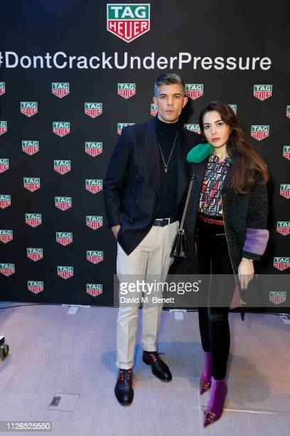Rayer VanRistell and Nurce Erben attend TAG Heuer and art provocateur Alec Monopoly launch event celebrating special edition watches on January 31...
