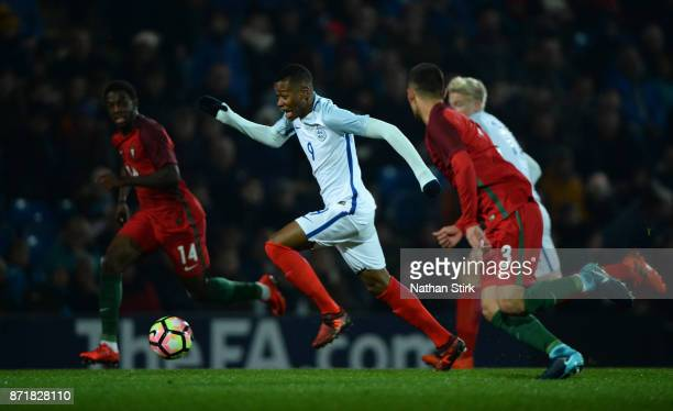 Rayhaan Tulloch of England U17s in action during the International Match between England U17 and Portugal U17 at Proact Stadium on November 8 2017 in...