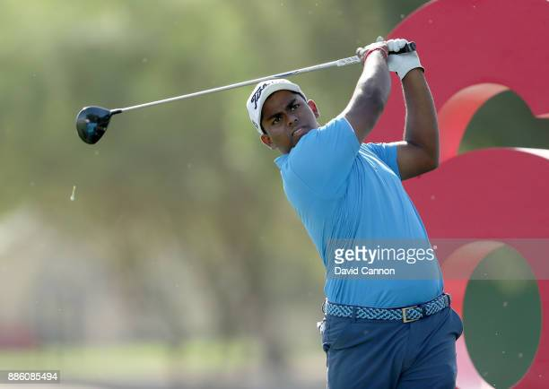 Rayhan Thomas of India in action during the proam for the 2017 Dubai Ladies Classic on the Majlis Course at The Emirates Golf Club as a preview for...