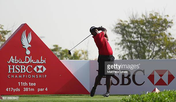 Rayhan Thomas of India tees of on the 11th hole during a practice round ahead of the Abu Dhabi HSBC Championship at Abu Dhabi Golf Club on January 17...