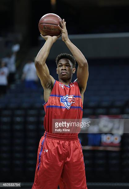 Rayjon Tucker in red with the free throw attempt during the National Basketball Players Association Top 100 Camp on June 17 2014 at John Paul Jones...