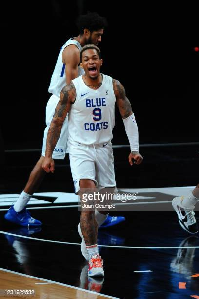 Rayjon Tucker of the Delaware Blue Coats reacts to play against the Raptors 905 during the NBA G League Playoffs on March 9, 2021 at AdventHealth...