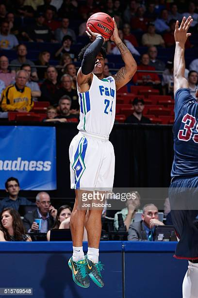 Rayjon Tucker of the Florida Gulf Coast Eagles shoots the ball in the second half against the Fairleigh Dickinson Knights during the first round of...