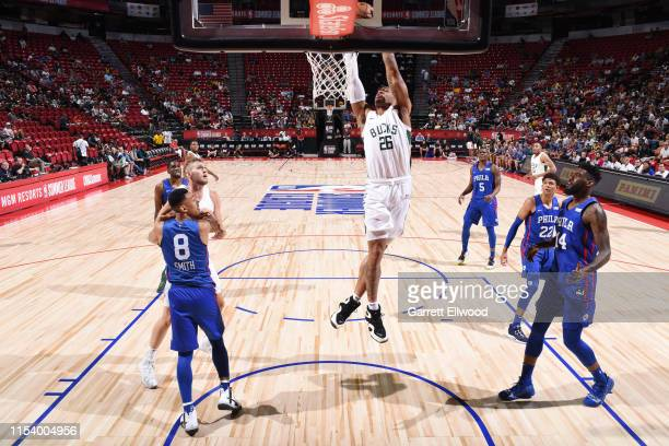 Rayjon Tucker of the Milwaukee Bucks drives to the basket during the game against the Philadelphia 76ers during Day 1 of the 2019 Las Vegas Summer...