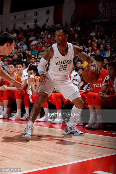 Rayjon Tucker of the Milwaukee Bucks handles the ball against China on July 10 2019 at the Cox Pavilion in Las Vegas Nevada NOTE TO USER User...