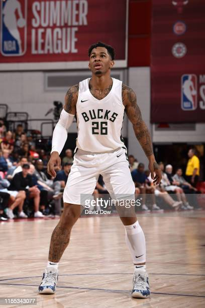 Rayjon Tucker of the Milwaukee Bucks looks on during the game against the Portland Trail Blazers during Day 8 of the 2019 Las Vegas Summer League on...