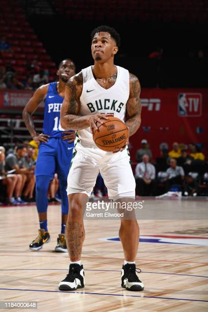 Rayjon Tucker of the Milwaukee Bucks shoots a free throw during the game against the Philadelphia 76ers during Day 1 of the 2019 Las Vegas Summer...