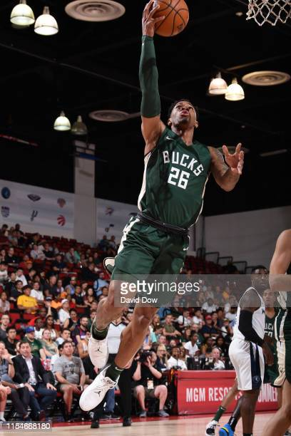 Rayjon Tucker of the Milwaukee Bucks shoots the ball against the Minnesota Timberwolves on July 8 2019 at the Cox Pavilion in Las Vegas Nevada NOTE...