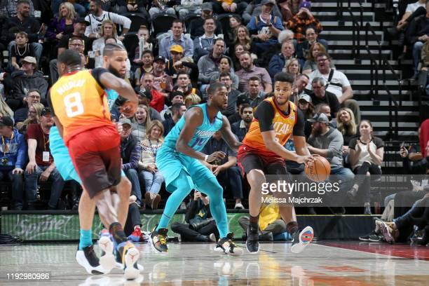 Rayjon Tucker of the Utah Jazz handles the ball against the Charlotte Hornets on January 10 2020 at Vivint Smart Home Arena in Salt Lake City Utah...