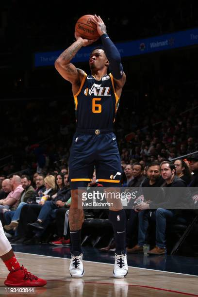 Rayjon Tucker of the Utah Jazz shoots the ball against the Washington Wizards on January 12 2020 at Capital One Arena in Washington DC NOTE TO USER...