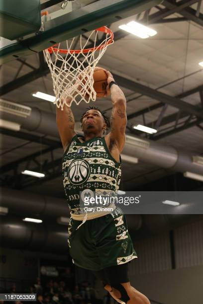 Rayjon Tucker of the Wisconsin Herd dunks against the Rio Grande Valley Vipers during an NBA GLeague game on December 7 2019 at Menominee Nation...