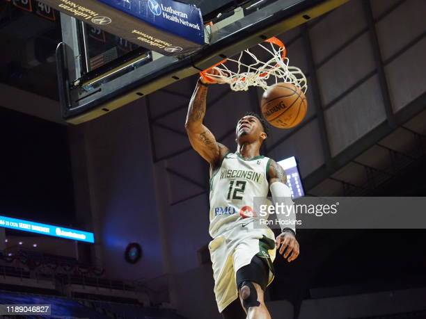 Rayjon Tucker of the Wisconsin Herd dunks the ball against the Fort Wayne Mad Ants on December 16 2019 at Memorial Coliseum in Fort Wayne Indiana...