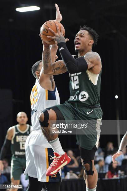 Rayjon Tucker of the Wisconsin Herd goes to the basket against the Salt Lake City Stars during the NBA G League Winter Showcase at Mandalay Bay...