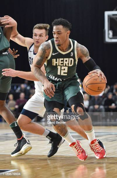Rayjon Tucker of the Wisconsin Herd handles the ball against the Salt Lake City Stars during the NBA G League Winter Showcase at Mandalay Bay Events...
