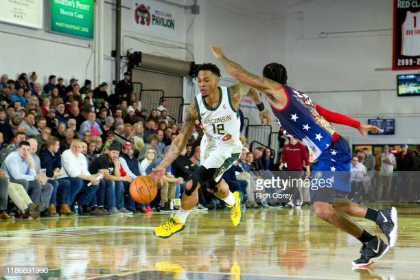 Rayjon Tucker of the Wisconsin Herd on a drive against the Maine Red Claws on Thursday December 5 2019 at the Portland Expo in Portland Maine NOTE TO...