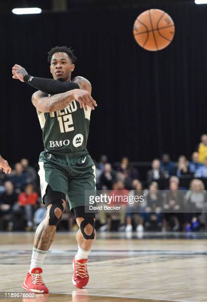 Rayjon Tucker of the Wisconsin Herd passes the ball against the Salt Lake City Stars during the NBA G League Winter Showcase at Mandalay Bay Events...