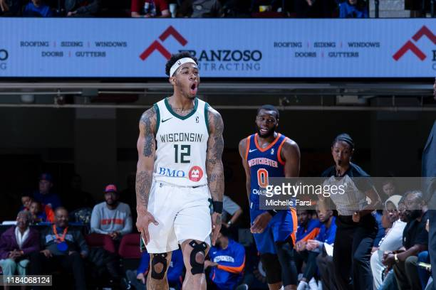 Rayjon Tucker of the Wisconsin Herd reacts after shot against the Westchester Knicks during an NBA GLeague game on November 22 2019 at Westchester...