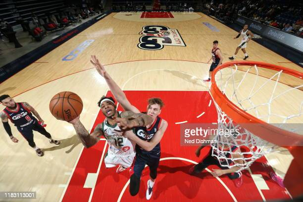 Rayjon Tucker of the Wisconsin Herd shoots against the Capital City GoGo during a NBA GLeague game at the Entertainment and Sports Arena on November...