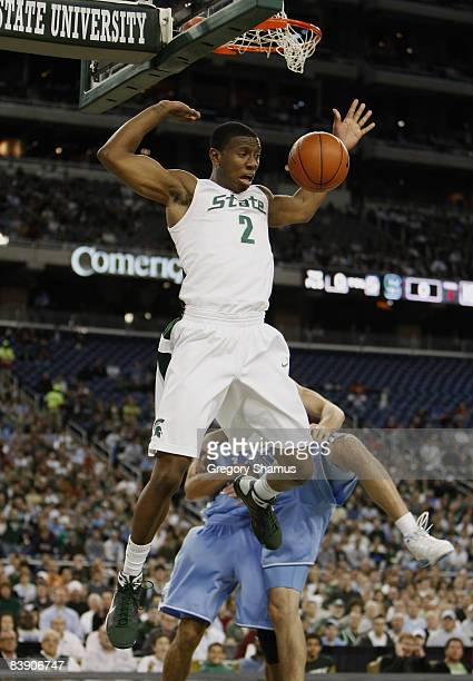 Raymar Morgan of the Michigan State Spartans gets in for a first half dunk while playing the North Carolina Tar Heels on December 3 2008 at Ford...