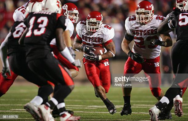 Raymell Rice of the Rutgers Scarlet Knights runs the ball against the Louisville Cardinals during the game at Papa John's Stadium on November 11 2005...