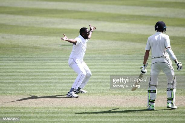 Raymon Reifer of the West Indies appeals successfully for the wicket of Henry Nicholls of New Zealand during day one of the second Test match between...