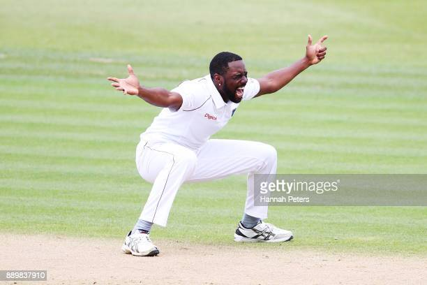 Raymon Reifer of the West Indies appeals sucessfully for the wicket of Tom Latham of New Zealand during day three of the Second Test Match between...