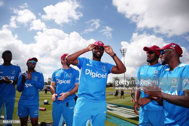 Raymon Reifer of the West Indies receives his test cap prior to day one of the second Test match between New Zealand and the West Indies at Seddon...