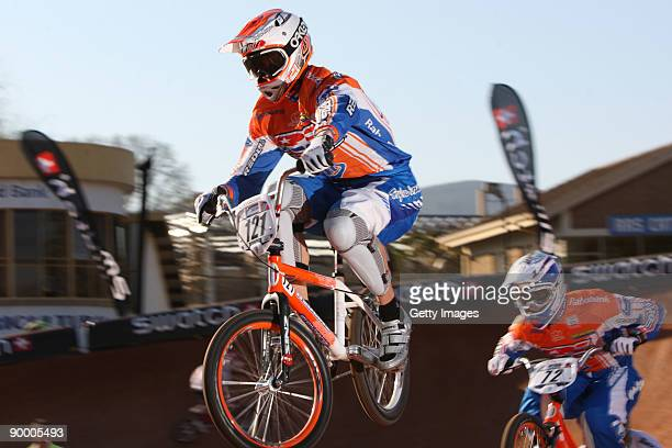 Raymon van der Biezen and Rob van den Wildenberg in the heats on day two at the UCI BMX Supercross World Cup at the Royal Show Grounds on August 22,...