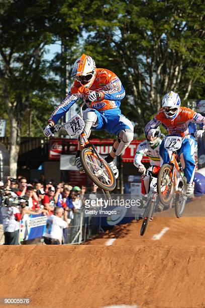 Raymon van der Biezen in the heats on day two at the UCI BMX Supercross World Cup at the Royal Show Grounds on August 22, 2009 in Pietrmaritzburg,...