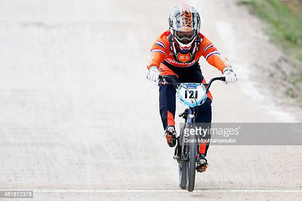 Raymon Van Der Biezen of Netherlands competes in the Elite Men Time Trial Race during day 4 of the UCI BMX World Championships at on July 24, 2015 in...