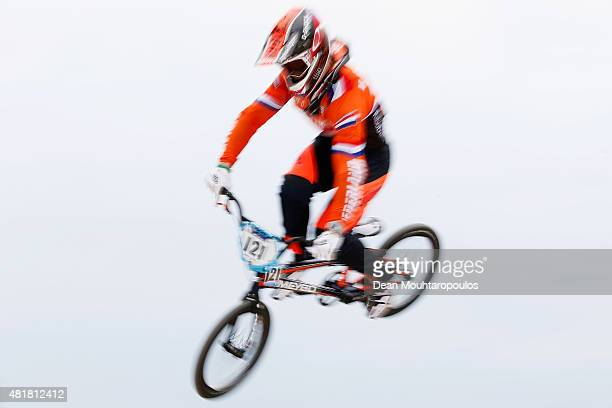 Raymon Van Der Biezen of Netherlands competes in the Elite Men Qualification Time Trial during day 4 of the UCI BMX World Championships at on July...