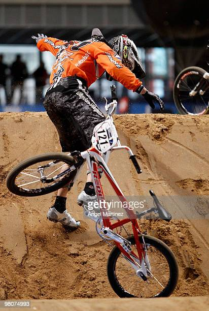 Raymon van der Biezen of Netherlands during the Elite Men practice session on day one during the UCI BMX Supercross World Cup at Palacio Deportes on...