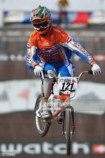 Raymon van der Biezen of Netherlands during the elite men's 1/8 finals during the UCI BMX Supercross World Cup at Roc d'Azur Frejus on October 10,...