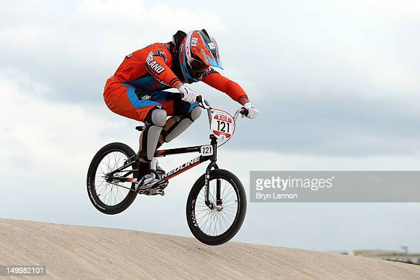 Raymon Van Der Biezen of Netherlands of Netherlands competes during the Men's BMX Cycling on Day 12 of the London 2012 Olympic Games at BMX Track on...