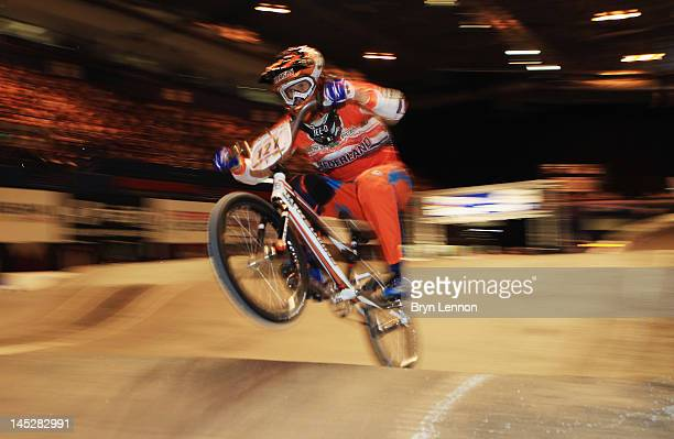 Raymon van der Biezen of the Netherlands in action during Men's TT Qualifying on day two of the UCI BMX World Championships at NIA Arena on May 25,...