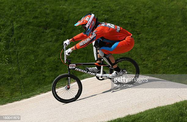 Raymon van der Biezen of the Netherlands in action during the Men's BMX Cycling Quarter Finals on Day 13 of the London 2012 Olympic Games at BMX...