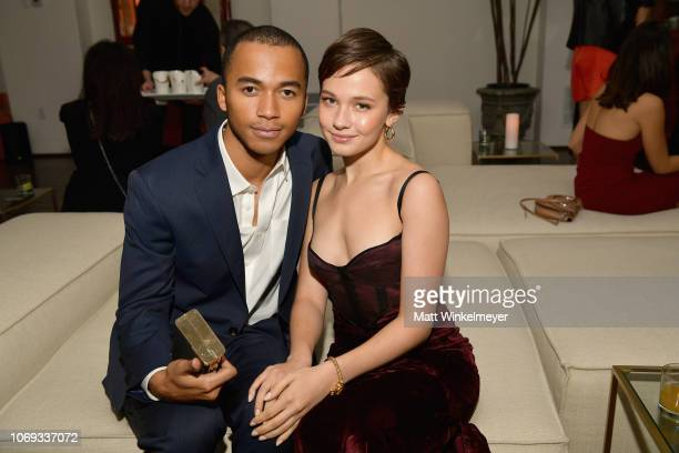 Raymond Alexander Cham Jr and Cailee Spaeny attends the 2018 GQ Men of the Year Party at a private residence on December 6 2018 in Beverly Hills...