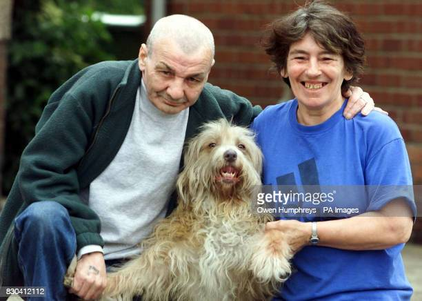 Raymond and Audrey Waddell with their hero dog Lassie who saved them from a fire at their home when Lassie bit Raymond to wake him at their house in...
