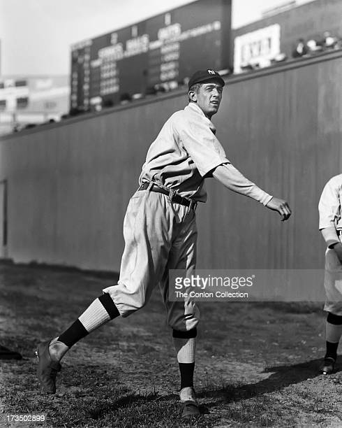 Raymond B. Caldwell of the New York Yankees throwing a ball in 1915.