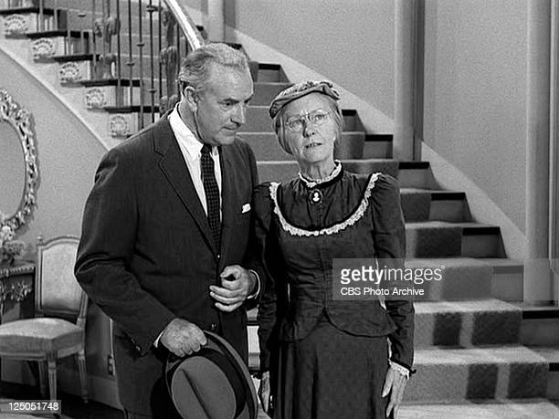 Raymond Bailey as Milburn Drysdale and Irene Ryan as Daisy Moses in THE BEVERLY HILLBILLIES episode HairRaising Holiday Original airdate October 2...