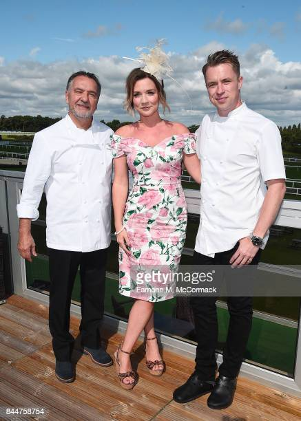 Raymond Blanc Candice Brown and James Tanner at the Festival of Food Wine Racing Weekend Ascot Racecourse on September 9 2017 in Ascot England