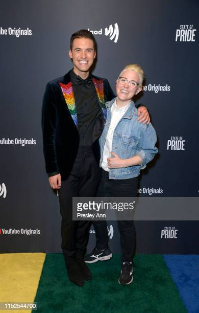 Raymond Braun and Hannah Hart attend YouTube Originals State Of Pride Los Angeles Premiere at The Ricardo Montalban Theatre on May 29 2019 in...