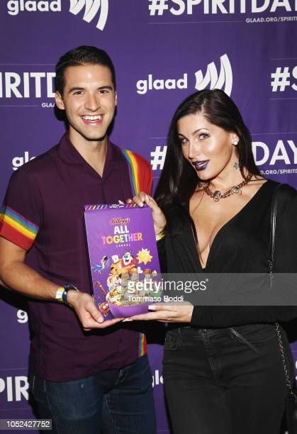 Raymond Braun and Trace Lysette attend Justin Tranter And GLAAD Present 'BEYOND' Spirit Day Concert at The Sayers Club on October 17 2018 in...